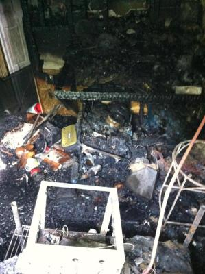 an example of a house fire caused by a malfunction in the temperature control.