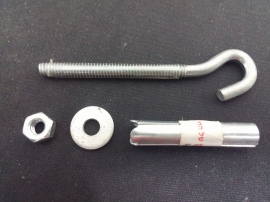 disassembled hook, notice the plastic sleeve.