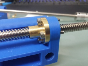 new left X axis carriage with nut installed. a recess was made for the top rim of the nut